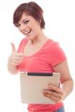 Женщина компьютера таблетки Стоковое Изображение RF