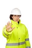 женщина конструкции говоря работнику стопа Стоковые Фотографии RF