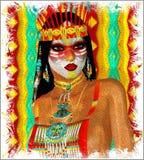 Женщина коренного американца индийская в нашем стиле искусства фантазии цифровом Стоковое Фото