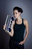 женщина коробки заграждения ретро Стоковые Фотографии RF