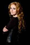 женщина корсета с волосами красная Стоковое фото RF