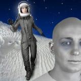 женщина костюма стойки космоса шлема способа астронавта Стоковое Фото
