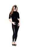 женщина кота стоящая Стоковое Фото