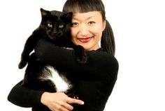 женщина кота стоковые изображения