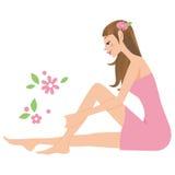 Женщина которая делает, забота кожи Стоковое Изображение