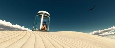 женщина, который заперли в стеклянной шлюпке в пустыне иллюстрация вектора