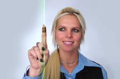 женщина кода штриховой маркировки Стоковая Фотография