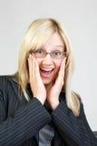 женщина красивейшего дела offic удивленная Стоковое фото RF