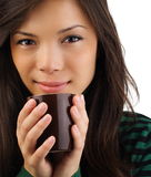 женщина красивейшего кофе выпивая Стоковая Фотография RF
