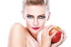 женщина красивейшего удерживания яблока нагая Стоковые Изображения RF