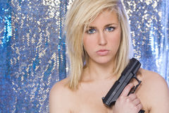 женщина красивейшей белокурой руки пушки нагая Стоковые Изображения