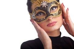 женщина красивейшей маски масленицы нося Стоковые Фото