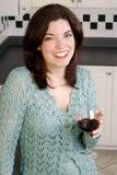 женщина красного вина Стоковые Фото
