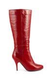 женщина красного цвета ботинка Стоковая Фотография