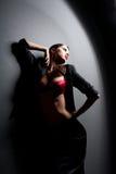 женщина красного цвета губ стоковое фото