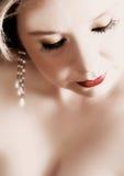 женщина красного цвета губ Стоковое Изображение RF