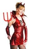 женщина красного цвета дьявола Стоковое Изображение