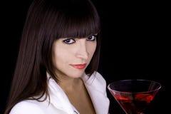 женщина красного цвета коктеила Стоковая Фотография