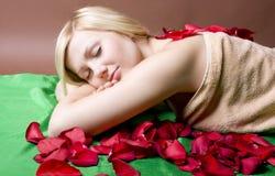 женщина красного цвета лепестка розовая Стоковое Изображение