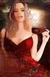 женщина красного цвета платья Стоковое Изображение RF