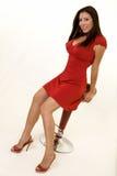 женщина красного цвета платья Стоковое фото RF