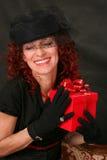 женщина красного цвета подарка Стоковая Фотография