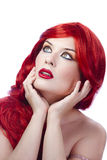 женщина красного цвета портрета волос девушки способа Стоковые Изображения RF