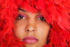 женщина красного цвета портрета пера Стоковые Изображения RF