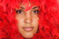 женщина красного цвета портрета пера Стоковые Фото
