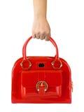 женщина красного цвета руки мешка Стоковые Фотографии RF