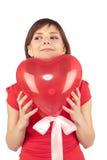 женщина красного цвета сердца воздушного шара Стоковое Изображение