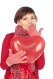 женщина красного цвета сердца воздушного шара Стоковые Изображения