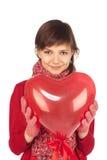 женщина красного цвета сердца воздушного шара Стоковое фото RF