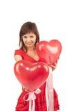 женщина красного цвета сердца воздушного шара Стоковые Изображения RF