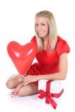 женщина красного цвета сердца воздушного шара Стоковое Фото
