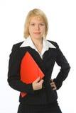женщина красного цвета скоросшивателя дела Стоковое фото RF