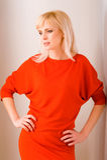женщина красного цвета 087 платьев Стоковые Фотографии RF