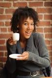 Женщина красоты в кафе Стоковые Фото