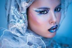 Женщина красоты зимы Состав девушки рождества Стоковые Фото