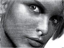 женщина крупного плана красотки handdrawn Стоковые Фото