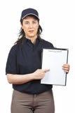 женщина курьера серьезная Стоковое Изображение