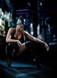 женщина латекса costume кота Стоковая Фотография RF