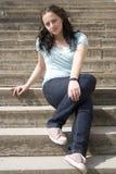 женщина лестницы Стоковые Фотографии RF