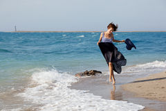 женщина лета дня пляжа отдыхая Стоковое Фото