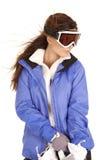 женщина лыжи изумлённых взглядов перчаток стоковые фотографии rf