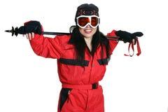 женщина лыжи шестерни стоковые изображения rf