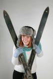женщина лыжи стоковое фото