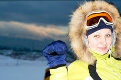 женщина лыжника портрета Стоковые Фотографии RF