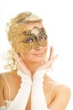 женщина маски масленицы золотистая Стоковое Фото