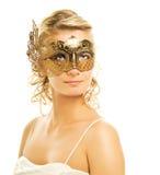 женщина маски масленицы золотистая Стоковое Изображение